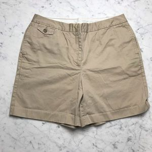 Lands' End Plus 14 Khaki Chino Flat Front Shorts